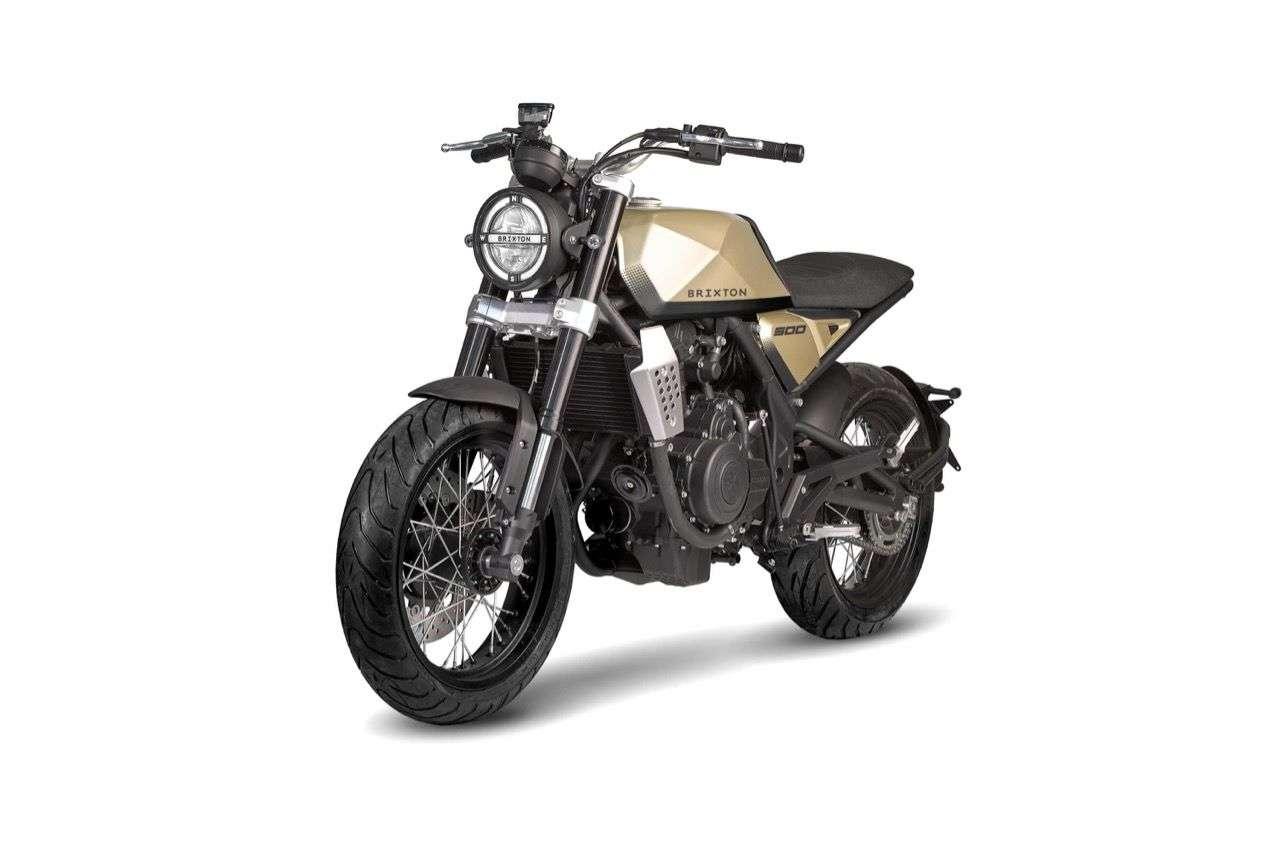 Brixton BX 500: Einnehmender Retro-Style mit modernen Anklängen, dazu Speichenräder, LED-Beleuchtung und ein sportlicher Sattel. Die Serienversion kommt Ende 2019 auf den Markt.