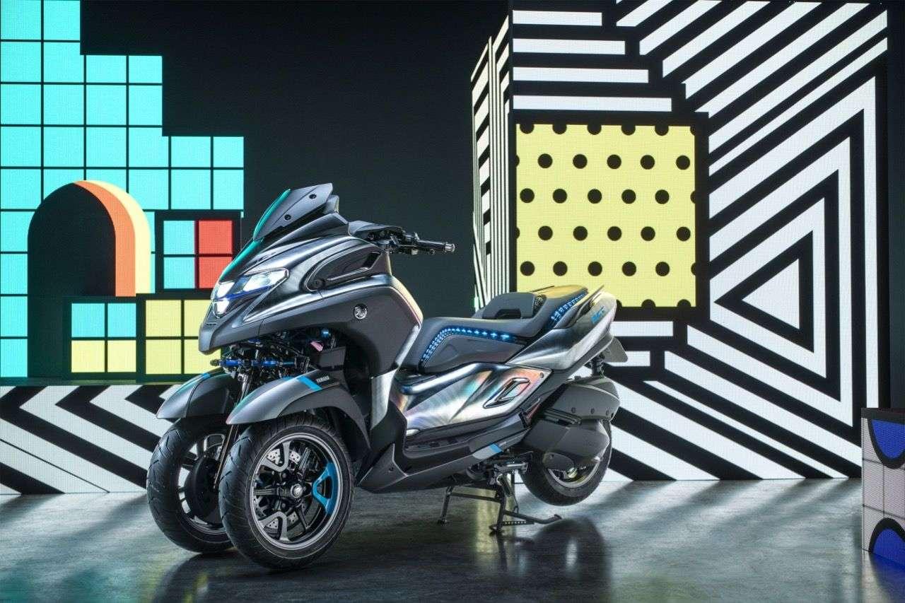Yamaha 3CT – Prototyp eines Dreirad-Rollers mit Stand-Stabilisierung und 300er-Motor.