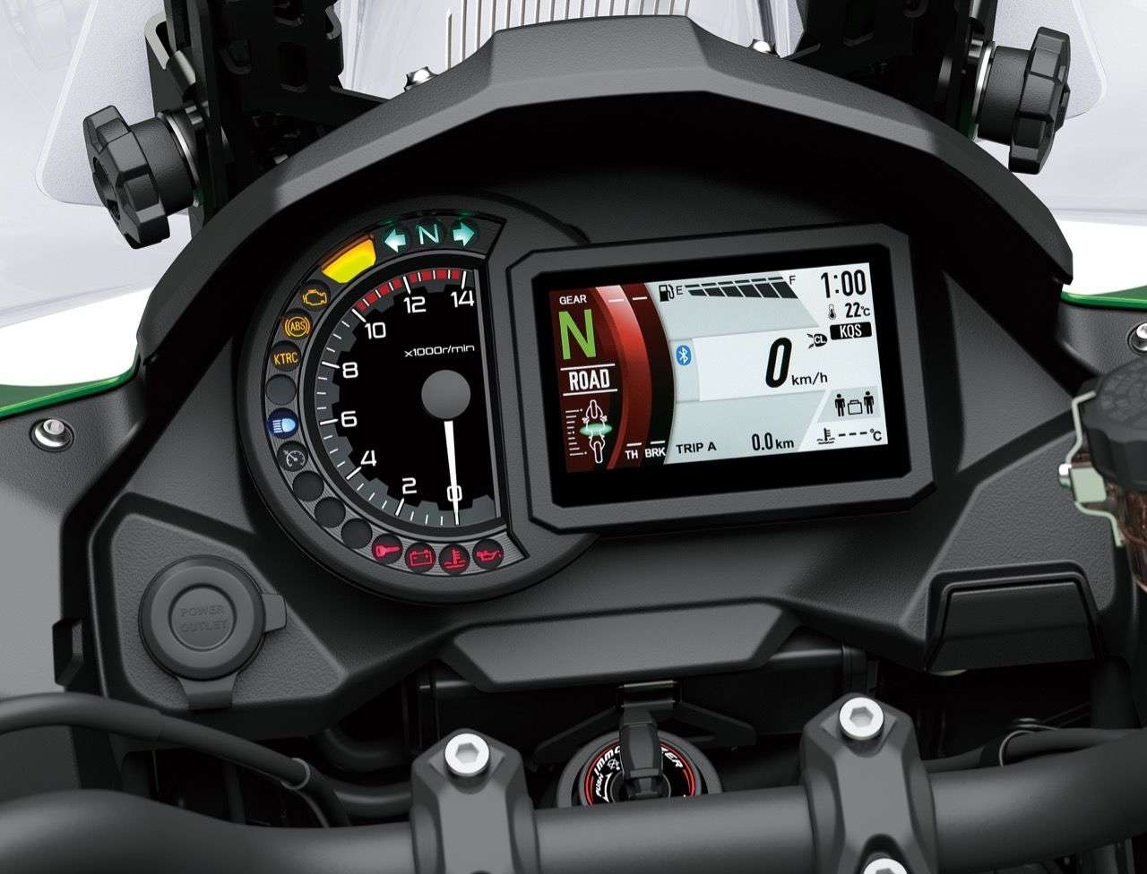 Cockpit der Versys 1000 SE: Analoger Tacho mit modernem TFT-Display.