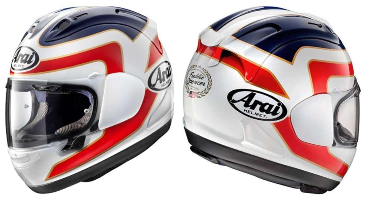 Arai RX-7V Spencer: Wie Spencer selbst ist der Helm jetzt schon Kult. Simpel, sophisticated und zeitlos. Nach Gebrauch in die Vitrine stellen.