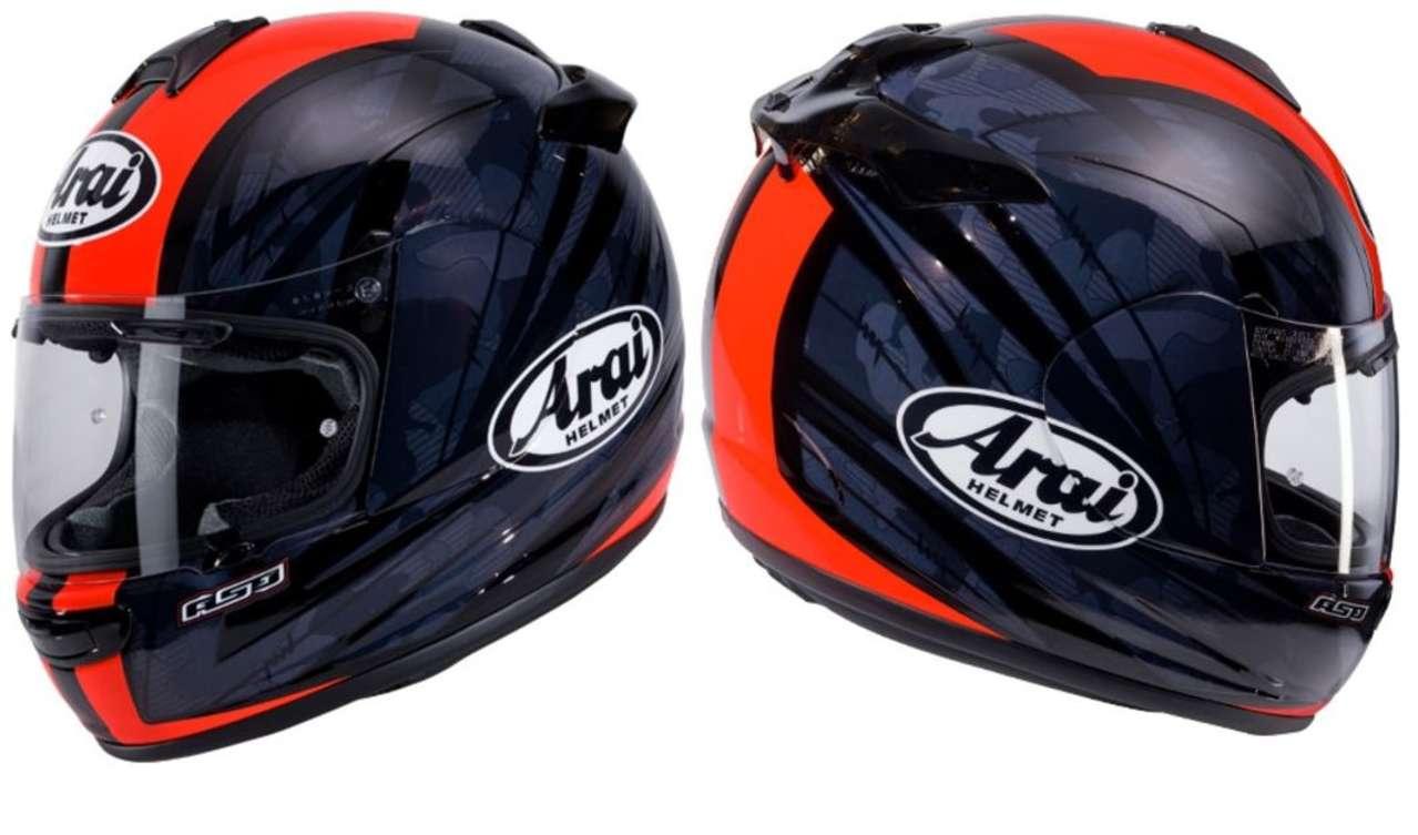 Arai Chaser V-Blast Red: Ein sportlicher Helm braucht eigentlich nicht mehr als einen roten Mittelstreifen. Aber die dunklen, zerfurchten Flächen geben dem Lack eine düstere Tiefe.
