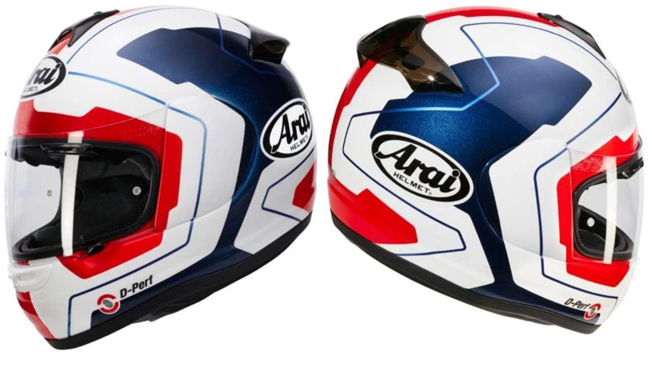 Arai Axces II Line Blue: Blau-Weiss-Rot geht immer, für BMW- und Honda-Friends und USA-Fans.