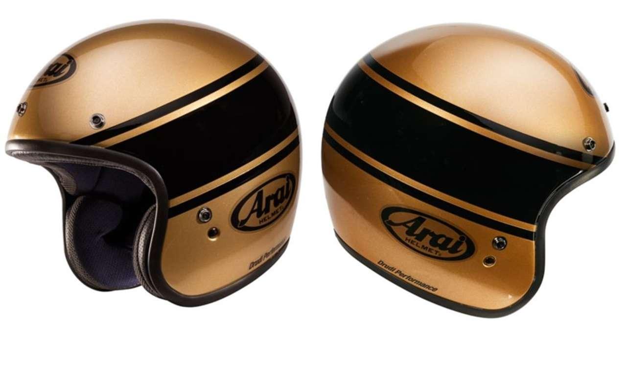 Arai Freeway Classic Bandage Bronze: Wir nennen ihn trotzdem Goldene Kugel. Passt perfekt zu unseren Goldketterln.