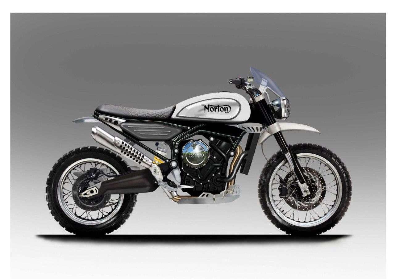Norton 650 Scrambler – das Vintagebike mit neuem Reihen-Zweizylinder soll noch 2018 serienreif sein.