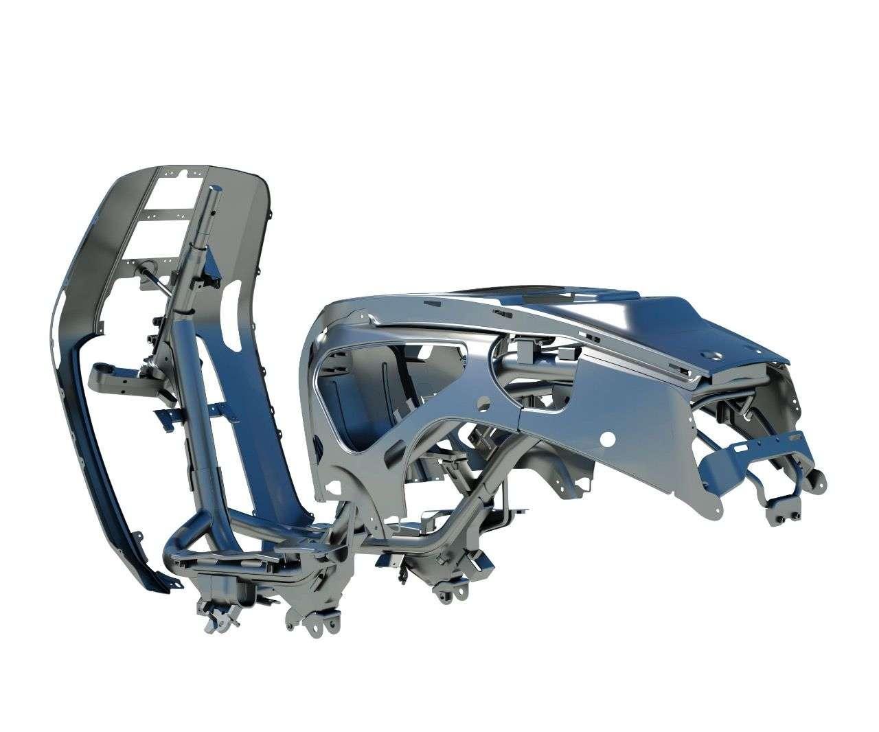Metallstruktur mit ausgesparten Seitenbereichen am Heck – für eine leichtere Wartung bzw. Reparatur des Motors. Nicht unschlau.