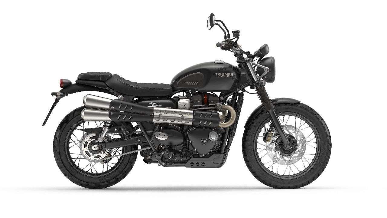 Triumph Street Scrambler: Das schwarze Basismodell kostet in Österreich 11.400 Euro, ...