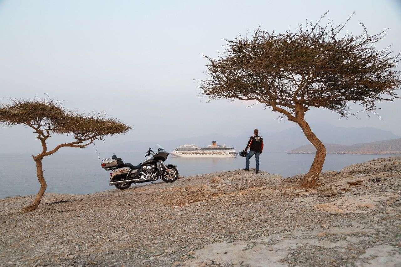 Kurze Pause vor der Durchfahrt durch die Straße von Hormuz: Kreuzfahrtschiff in Warteposition.